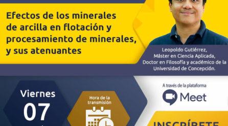 """Webinar: """"Efectos de los minerales de arcilla en flotación y procesamiento de minerales, y sus atenuantes"""""""