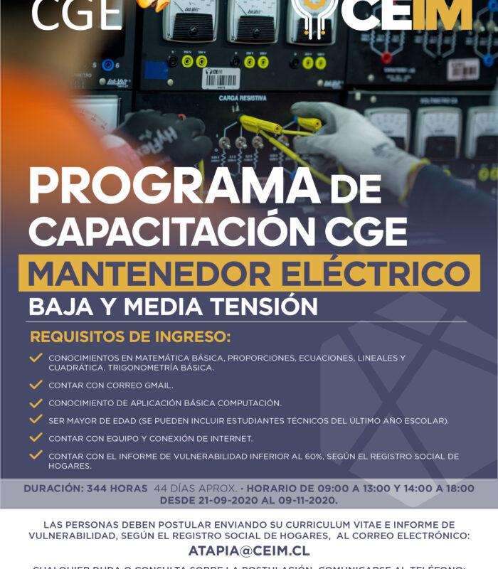 Programa de Capacitación CGE Mantenedor Eléctrico de baja y media tensión